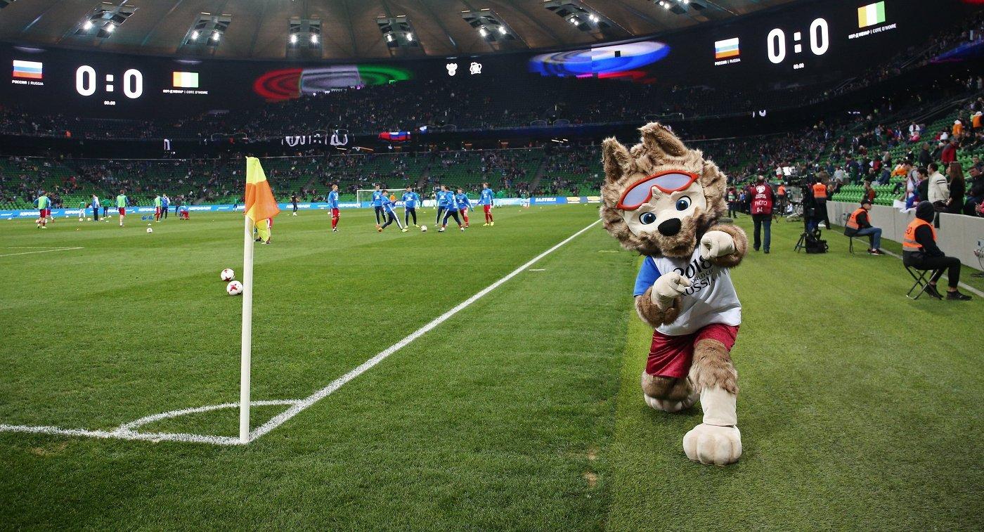 Талисман ЧМ2018 позирует на футбольном поле во время игры